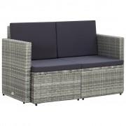 vidaXL 2-местен градински диван с възглавници, сив, полиратан