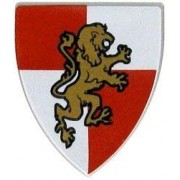 LEGO Castle LOOSE Shield Small Rampant Lion Shield [Red & White Field]
