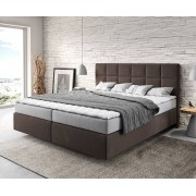 DELIFE Boxspring-bed Dream-Fine 180x200 cm bruin met matras en topper