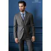 Mens Next Italian Wool Suit: Trousers - Light Grey