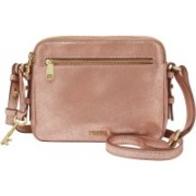 Fossil Women Gold Genuine Leather Hand-held Bag