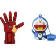 DARK EDGE Iron Man Hand 32 GB Pen Drive Metal Hand with Glowing LED Hand With Doraemon Fancy USB Flash Drive 16 GB Pack of 2 Pendrive 32 GB Pen Drive(Red, Gold)