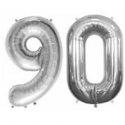 Stylewell Solid Silver Color 2 Digit Number (90) 3d Foil Balloon for Birthday Celebration Anniversary Parties