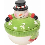 Borcan Craciun ceramic decorativ cu capac model Om de Zapada and Oslash 9 cm x 10 H