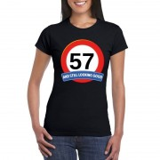 Bellatio Decorations Verkeersbord 57 jaar t-shirt zwart dames