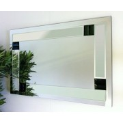 Florida Clear and Black Glass Bevelled Mirror 92X61cm