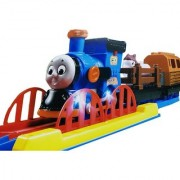 Emob Cartoon Character Realistic Musical and Flashing Light Train Track Set Toy with Animal and Log Carrier (Multicolor