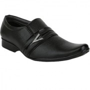 Axonza Men's Black Synthetic leather Slip On Formal Shoes