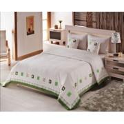 Set cuvertura de pat Valentini Bianco dimensiune 260x260cm cu 2 fete de perna 40x40cm din brocard Crem cu verde