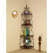 4 tier scrolled back design goldish copper finish metal corner wall shelf unit