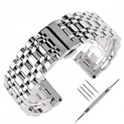 20mm 22mm 24mm Solid Stainless Steel Watch Band Silver 316L Push Button Hidden Bracelet Watch Strap for Mens Womens
