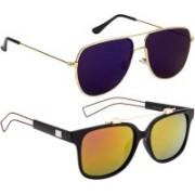NuVew Retro Square, Wayfarer Sunglasses(Blue, Green, Pink)