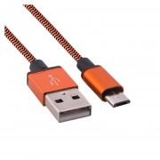 1m Woven Estilo Micro USB A USB 2.0 Cable Datos / Cargador Para Samsung, HTC, Sony, Lenovo, Huawei Y Otros Smartphones (naranja)