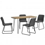 [en.casa]® Mesa de comedor - apariencia de madera + Set de 4 x sillas - tela - gris oscuro - diseño - 81 x 44 x 52,5 cm