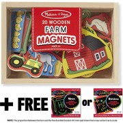 Farm Wooden 20 Magnets In A Box Gift Set + Free Melissa & Doug Scratch Art Mini Pad Bundle [2791]