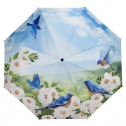 Blooming Brollies Umbrelă pliabilă complet automată femei Blue Birds GBFBBN