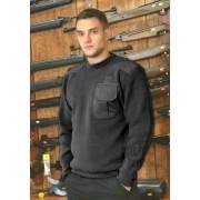 Czarny sweter mundurowy z pagonami