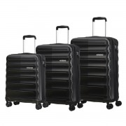 American Tourister Speedlink 3 Piece Hardside Suitcase/Luggage Set 4 Wheel Black