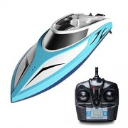 H102 Velocity Remote Control Boat for Pool & Outdoor Use - RC Racing Boat with Remote Control; Force1 High-Speed Series RC Boats for Adults & Kids + Bonus Battery (Limited Edition Blue)