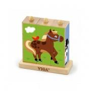 Drvene kocke puzzle s postoljem - domaće životinje (9 kom) 50833
