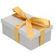Merkloos Kerstboom cadeautje zilver glitter doosje 7 cm