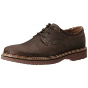 Clarks Men's Newkirk Plain Dark Brown Nub Leather Formal Shoes - 8 UK