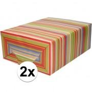 Shoppartners 2x Bruin cadeaupapier gekleurde strepen 70 x 200 cm