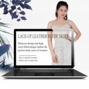 EH Mujeres De Encaje De Cuero De Gamuza Lápiz Falda Cruz Alta Cintura Bodycon Faldas Cortas L - Gris