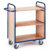 Rollcart Etagenwagen mit 2 Wänden 1070mm hoch und 3 Ladeflächen 800x500mm im Buchendekor ohne Rand