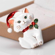 MloveAcc Christmas Lovely Cat Shape Brooches White Enamel Animal Brooch For Women Kids Party Gifts Jewelry