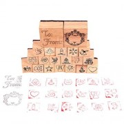 Wooden Stamps for kids,Luckybird Decoration Stamp for DIY Scrapbooking and Card Making 20 Kinds Wooden Rubber Stamp Set with 2 ink pad, for Decoration and for kids Fun bundles