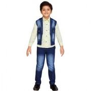 AJ Dezines Kids Party Wear Lemon Color Shirt Jeans and Waistcoat Set For Boys