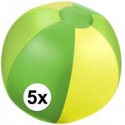 Geen 5x Opblaasbare strandbal groen