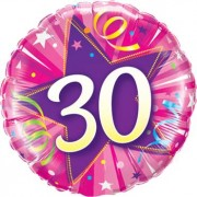 Qualatex 30 Shining Star Hot Pink Foil Round 18in/45cm
