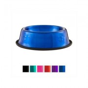 Platinum Pets Stainless Steel Embossed Non-Tip Dog Bowl, Sapphire Blue, Small