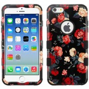Funda Case Para IPhone 6 Plus Doble Protector Uso Rudo - Rosas Rojas