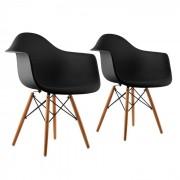 OneConcept Bellagio, fekete, kagylóüléses szék, 2 darabos készlet, retro, PP ülőke, nyírfa (DTF4-Bellagio-Black)