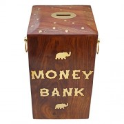 ITOS365 Handicrafted Wooden Money Bank Large Piggy Coin Box for Kids & Adult Gifts