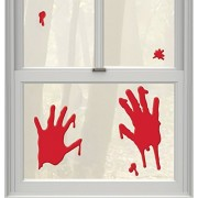 Amscan Haunted Asylum Halloween Bloody H&s Window Clings Gel Decorations , 12 Pieces