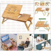 KunjZone Laptop Table with a Small Desk can be Folded - Curved Legs/Can Adjust Height - Techlife Brand - High Quality