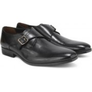 Clarks Banfield Monk Black Leather Slip On For Men(Black)