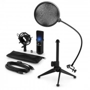 MIC-900B-LED USB Set Microfono V2 | Condensatore-Microfono Anti-pop Stativo