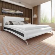 vidaXL Легло с матрак 180x200 cм, изкуствена кожа, бяло и черно
