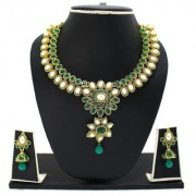 Emerald & Pearl Necklace Set By Zaveri Pearls-ZPFK3342
