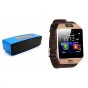 Zemini DZ09 Smartwatch and Box-2 Bluetooth Speaker for LG OPTIMUS L5(DZ09 Smart Watch With 4G Sim Card Memory Card| Box-2 Bluetooth Speaker Mini Sound Link Speaker)