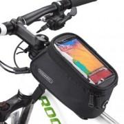 Husa Roswheel pentru bicicleta, cu buzunar pentru telefon de 5.5 inch si cablu jack 3.5mm - Negru