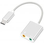 USB-C / AUX Headphones %26 Microphone Audio Adapter - Silver