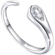 Mahi Rhodium Plated Exquisite White Solitaire gleaming CZ Adjustable Finger Ring for women FR1103040RWhi
