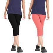Pixie Women Super Fine Capri 190 GSM Pack of 2 (Black and Baby Pink) - Free Size