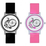 Peacock Black And Pink Colour Round Dial Analog Watches Combo For Girls And Womens